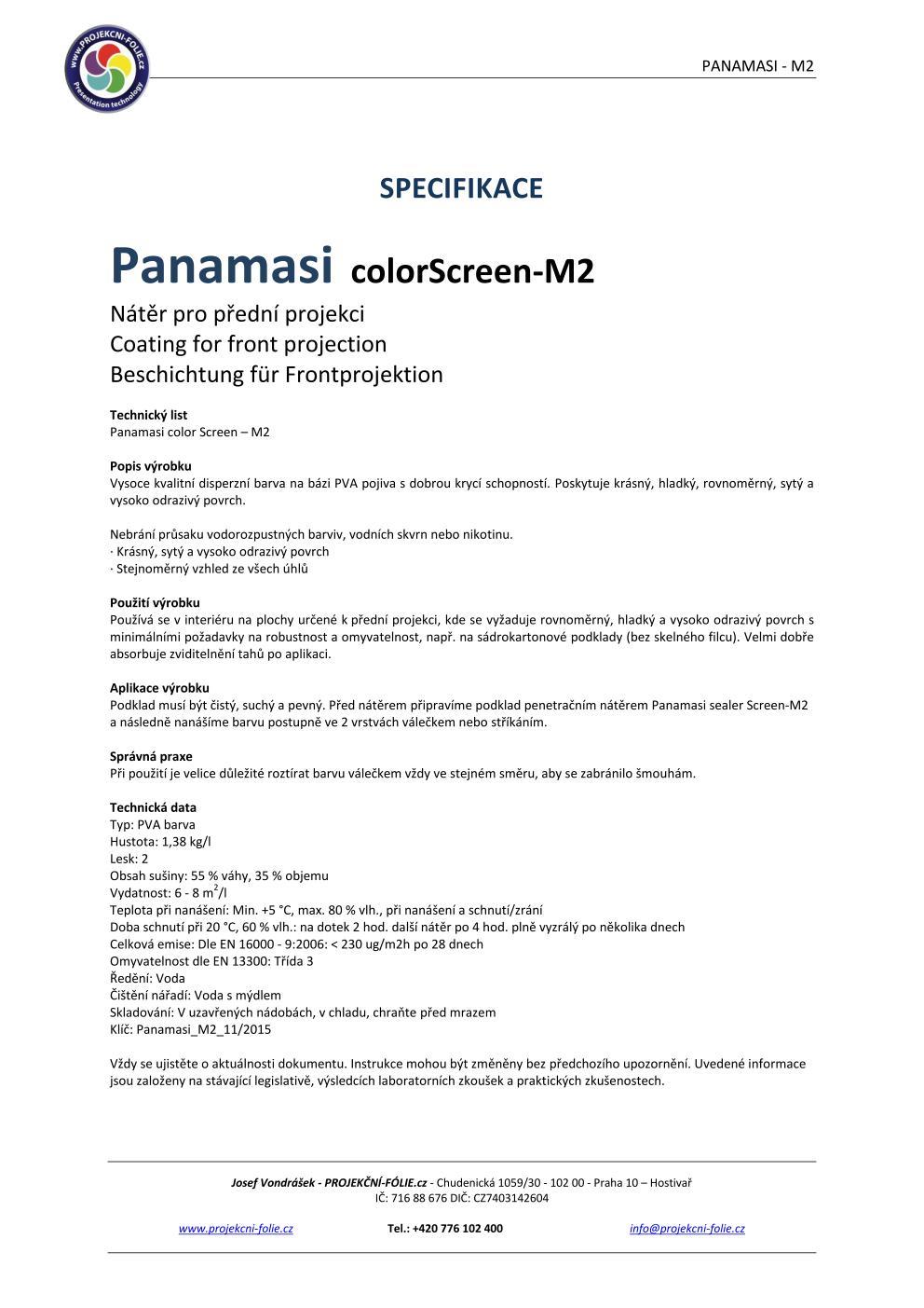 Specifikace - Projekční nátěr