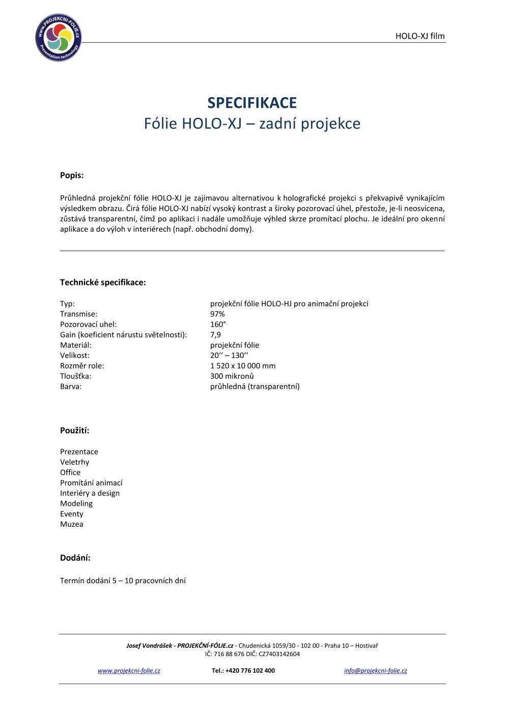 HOLO-XJ - CLEAR - zadní projekce